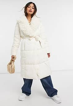 padded coat with teddy collar in cream-White