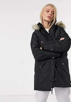 parka with faux fur hood in black