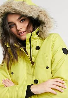 parka with faux fur hood in lime-Yellow