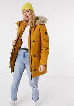 parka with faux fur hood in rust-Brown