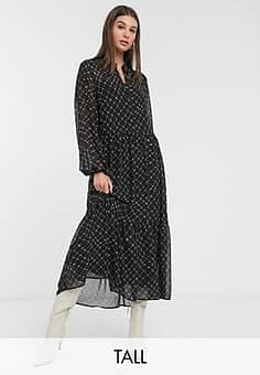 maxi dress with tiered skirt in black check-Multi