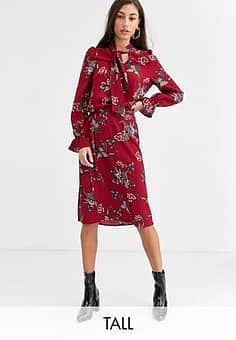 paisley midi skirt with splits-Red