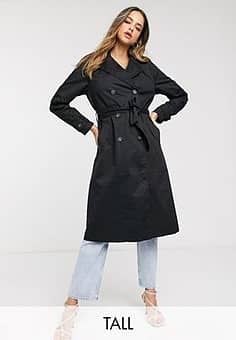 tailored trench coat in black