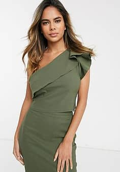 one shoulder crop top with frill detail co-ord in khaki-Green