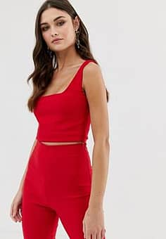 square neck crop top co-ord in red