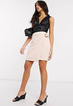 wrap skirt in pink