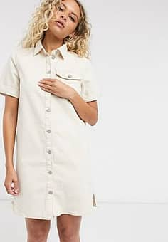 Vila button front denim dress in off white