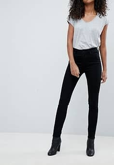 Weekday Thursday high waist skinny jeans with organic cotton in black