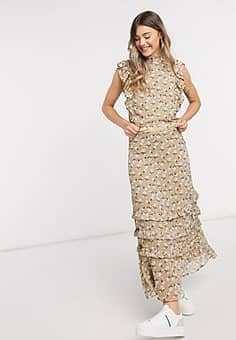 chiffon maxi skirt co-ord in beige floral-Multi