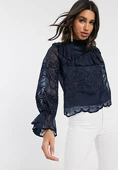 lace blouse with ruffle detail in navy