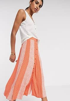 midi skirt with button through in red mixed print-Multi
