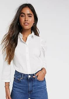 shirt with puff sleeves in white