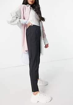 tailored trouser with elasticated waist in grey
