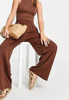 tailored wide leg trouser suit co-ord-Multi