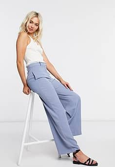 tailored wide leg trousers in blue