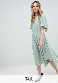 Y.A.S Floaty Midi Dress With Gold Dot Print-Green