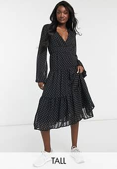 Y.A.S tiered midi dress with v neck in black spot print