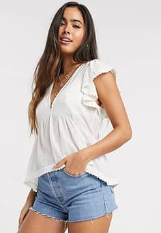 v-neck smock top with lace detail in cream