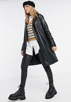 Abercrombie & Fitch faux leather trench in black