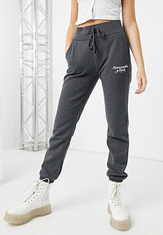 Abercrombie & Fitch logo thigh sweatpants in grey