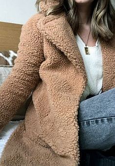 Abercrombie & Fitch teddy coat in tan-Brown