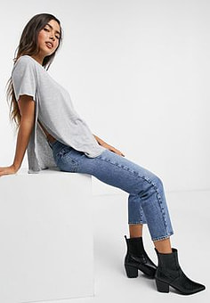 ASOS t-shirt with curved hem and side splits in grey marl