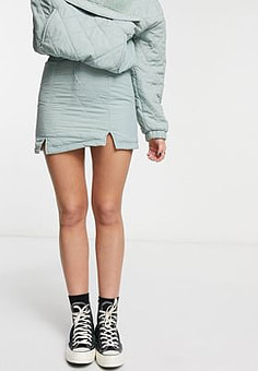 Bershka mini skirt co-ord with quilting in sage green