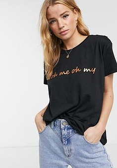 Blend She Oh Me slogan t-shirt in black