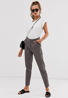 Brave Soul miriam tailored trousers in check-Brown