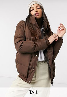 Brave Soul slay puffer jacket-Brown