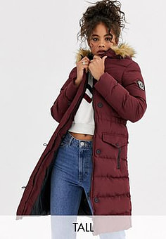 Brave Soul whitehorse padded long jacket with faux fur trim hood-Red