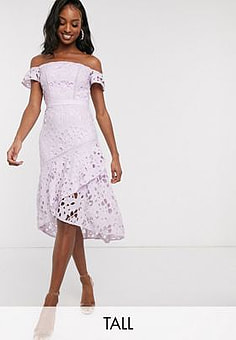 Chi Chi London bardot lace midi dress with flippy hem in lilac-Purple