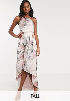 Chi Chi London hi low dress in soft floral-Pink