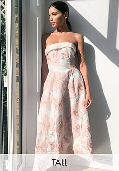 Chi Chi London jacquard bandeau maxi dress in pink