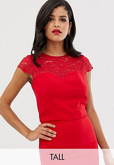 Chi Chi London lace detail shell top co-ord in red