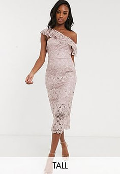 Chi Chi London lace pencil dress with asymmetric ruffle in mink-Pink