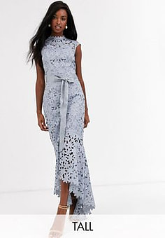 Chi Chi London wrap tie lace maxi dress in grey