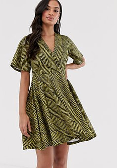 Closet Closet wrap over skirt dress-Yellow