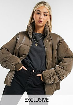 Collusion iridescent puffer with ruched seam detail in brown