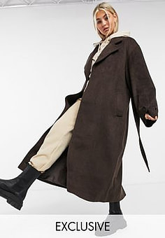 Collusion longline brushed faux wool overcoat in brown