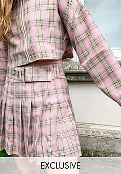 Collusion pleated belted mini skirt in check co-ord-Multi