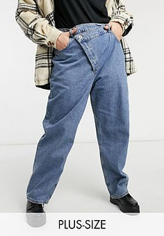 Collusion Plus x014 dad jeans with stepped waistband in cowboy blue wash