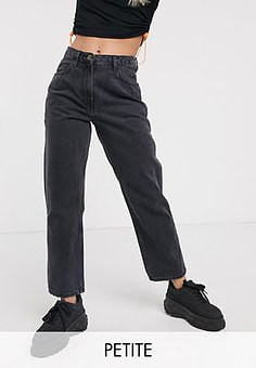 Collusion x006 Petite mom jeans in washed black