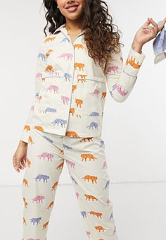 Daisy Street long sleeve shirt and pyjama bottoms set with eye mask in tiger print-Multi