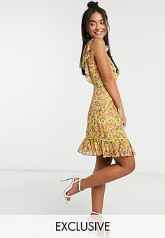 Dark Pink plunge mini dress with lace insert in yellow floral-Multi