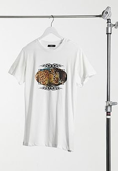 Diesel tattoo and leopard print t-shirt in white