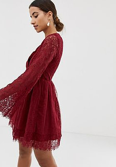 Dolly & Delicious long sleeved wrap front dress-Red