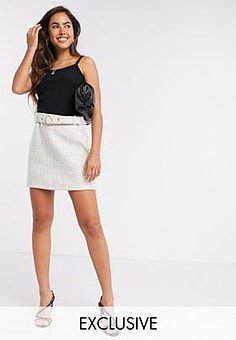 Fashion Union tweed skirt with belt co-ord-Beige