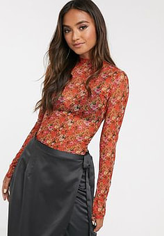 Finders Keepers bel air mesh layering top in garden party print-Red