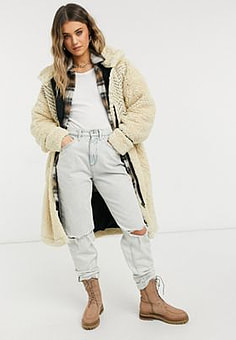 Free People Avery embroidered teddy coat in cream